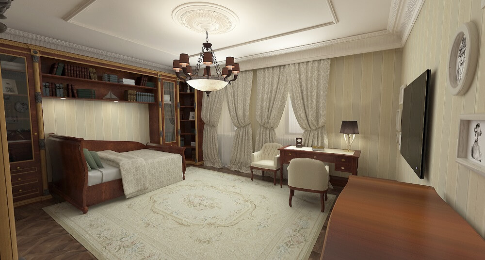 Luxury interior design single bed