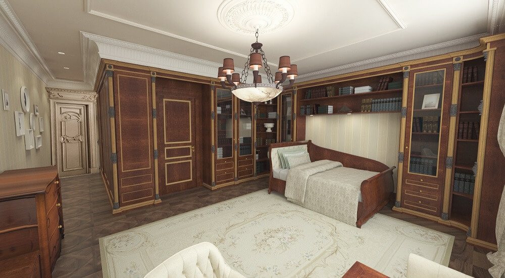 Luxury interior design of a guest bedroom