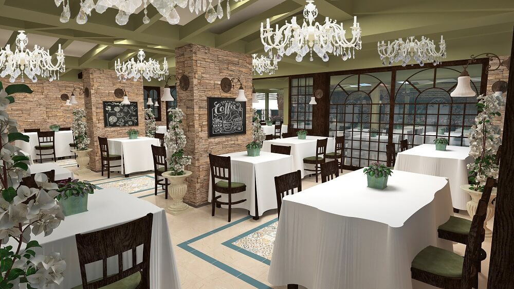 3d luxury design of a restaurant