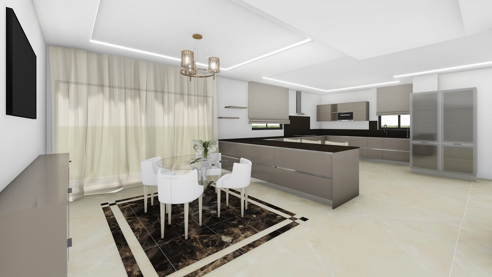 3 bedroom apartment with 3d interior design