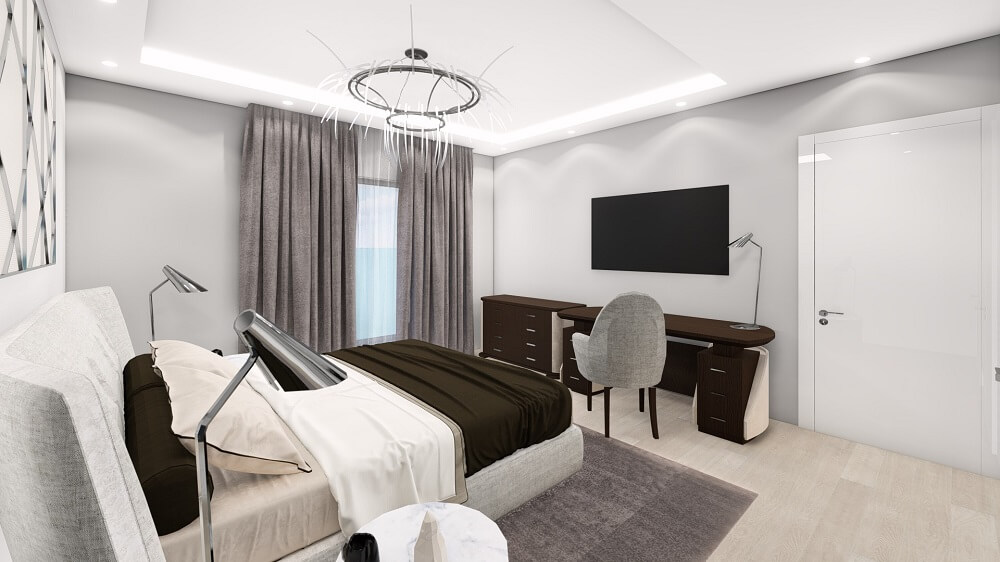 3d design project of a two-bedroom apartment