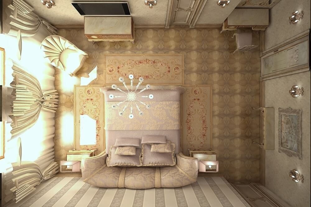 Bedroom in a luxury style