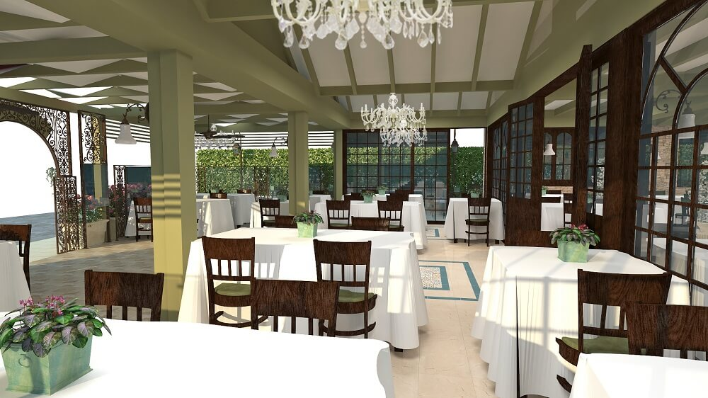 3d interior design of a restaurant