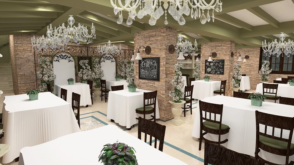 3d design of a luxury restaurant