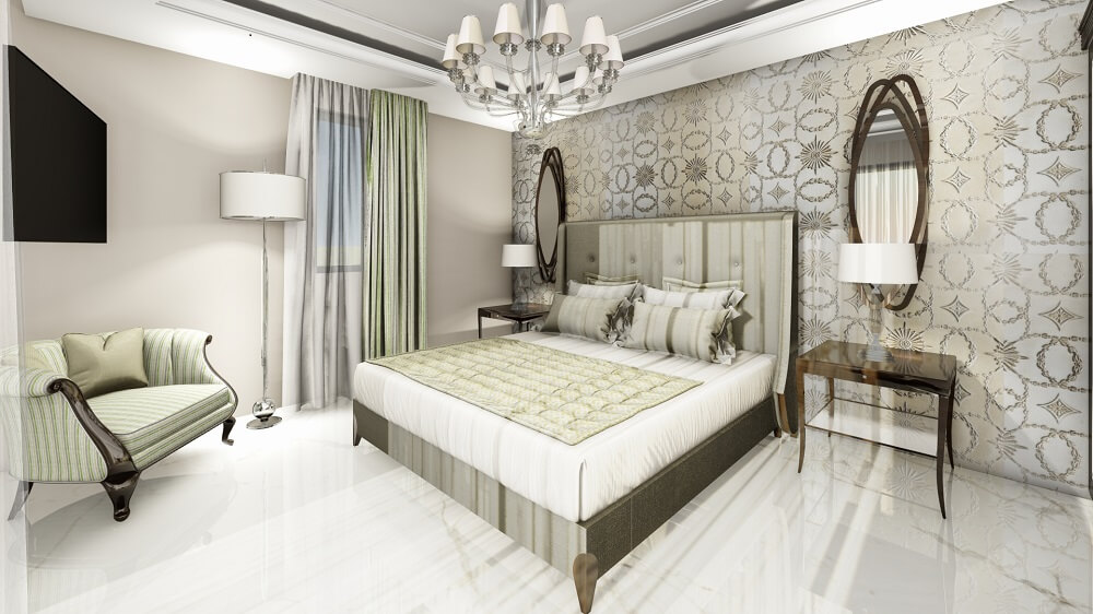 Design and interior of a bedroom